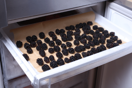 How to freeze blackberries: take unwashed blackberries, place them on a baking tray lined with parchment paper and pop it into the freezer for a few hours. Transfer the berries to a plastic freezer bag, label it with today's date and store the bag in the freezer.