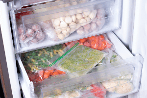 The deep freeze at my house, full of frozen vegetables.