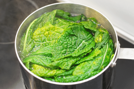 How to freeze Swiss chard - blanched Swiss chard